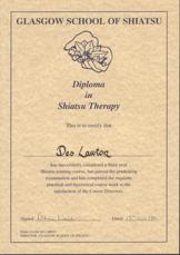 Shiatsu graduation certificate - Des Lawton